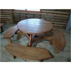 원목 원형 일체형 테이블 8인용