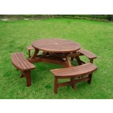 원목원형일체형테이블/비어 테이블 [아카시아]파라솔별도임